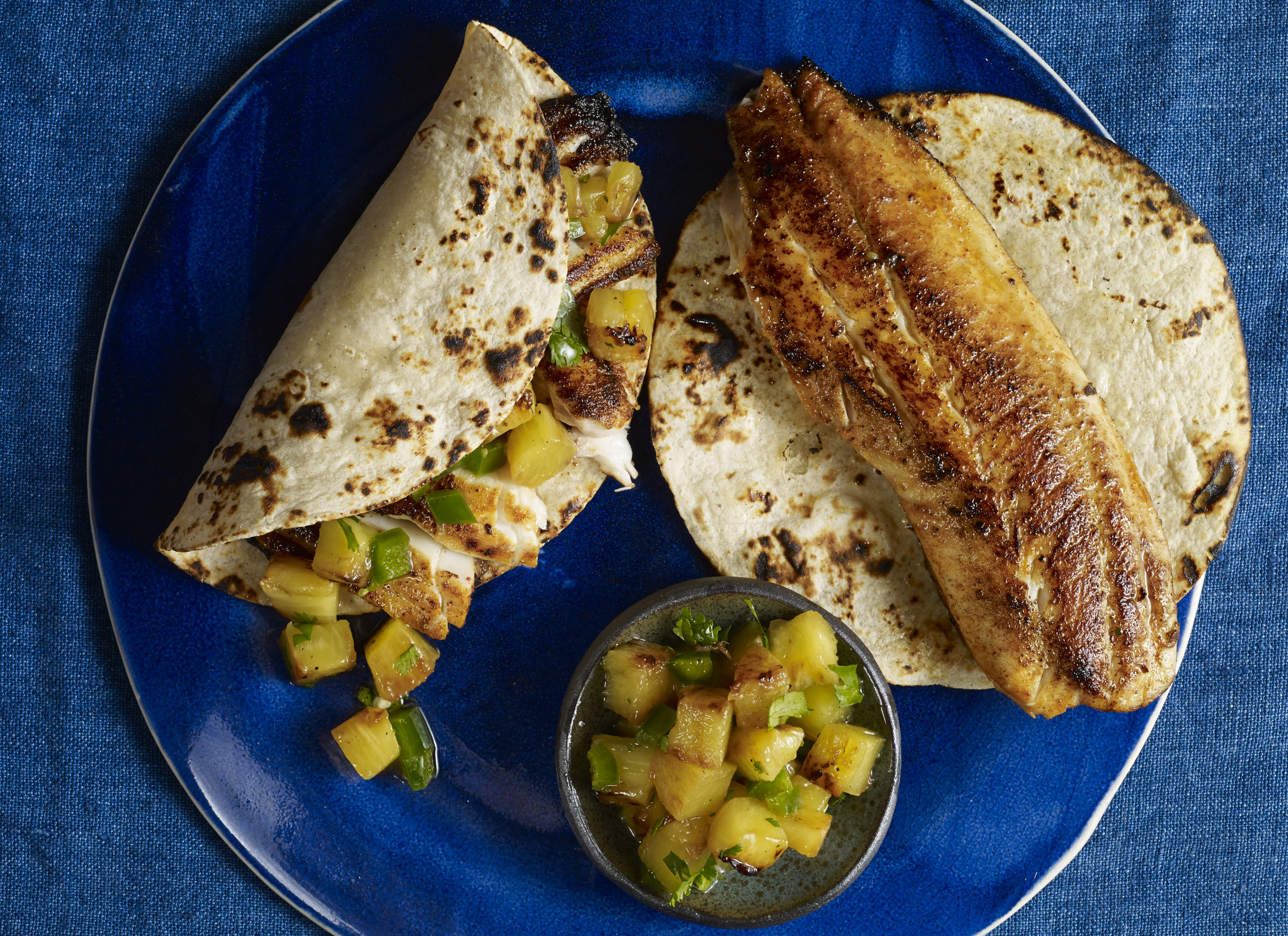 adobo fish tacos with grilled pineapple salsa