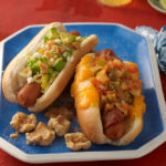 Mexican Dreamboat Hot Dog with bacon and cheddar by Pati Jinich