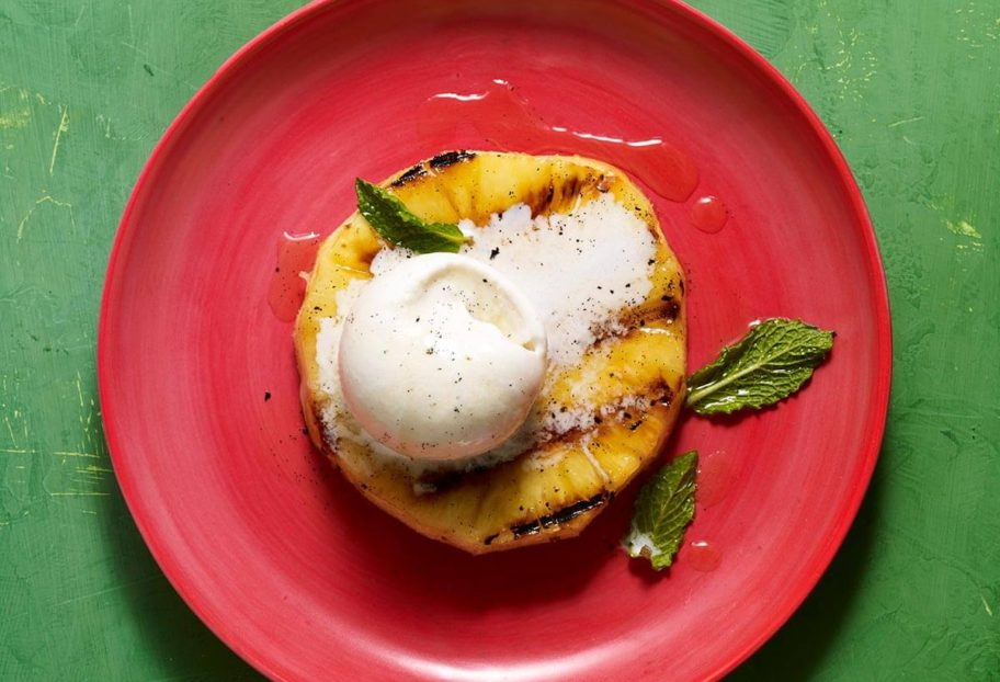 Grilled Pineapple with Mint and Vanilla Syrup