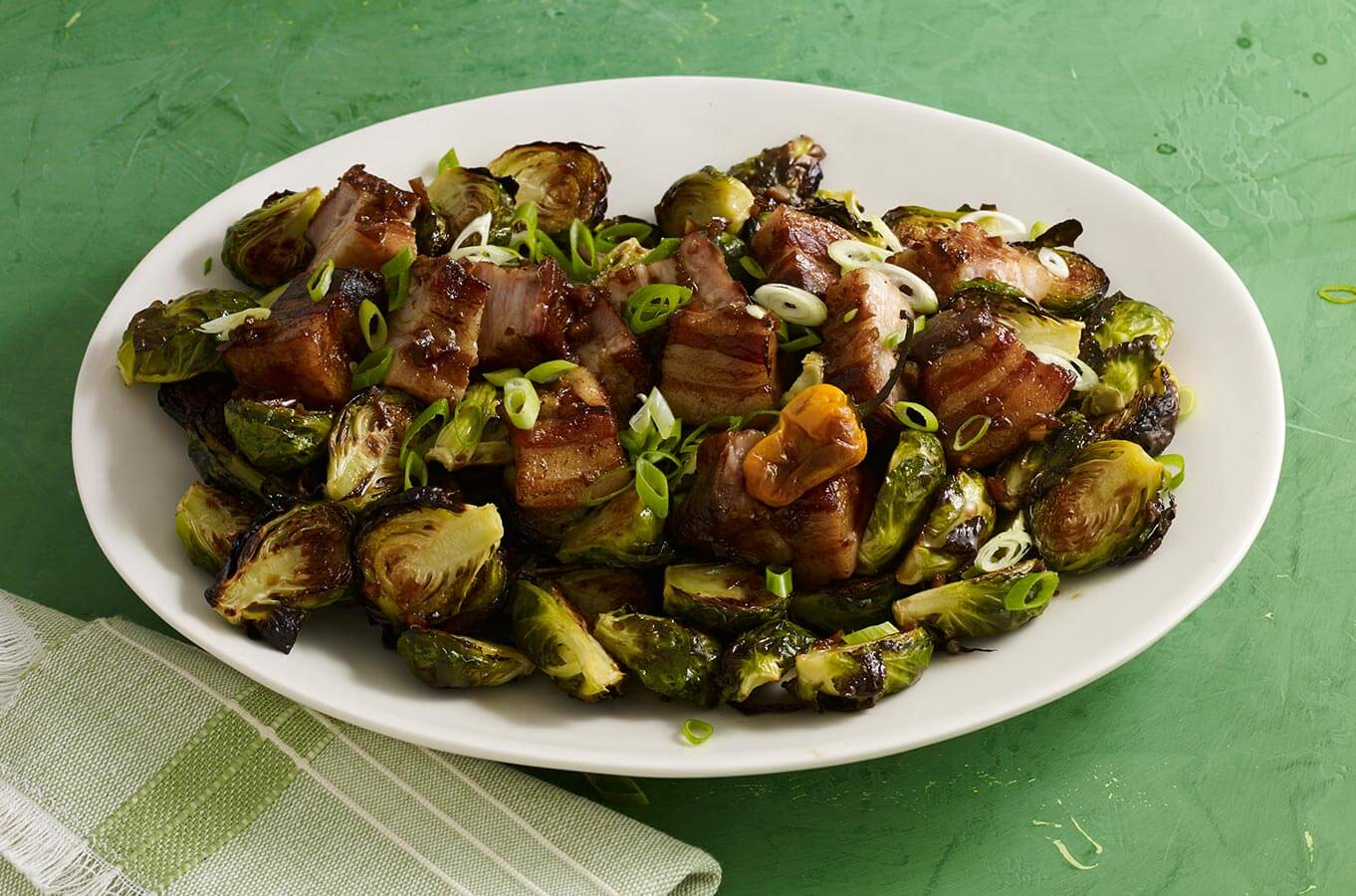 spicy brussel sprouts with pork belly and habanero