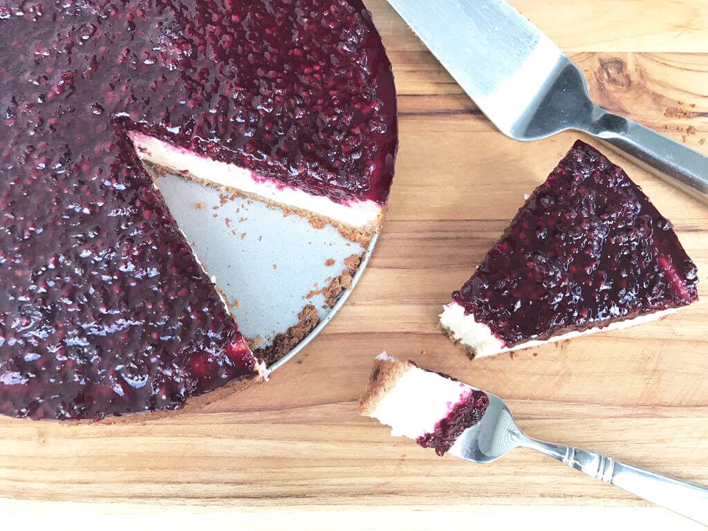 Pati Jinich blackberry cheesecake