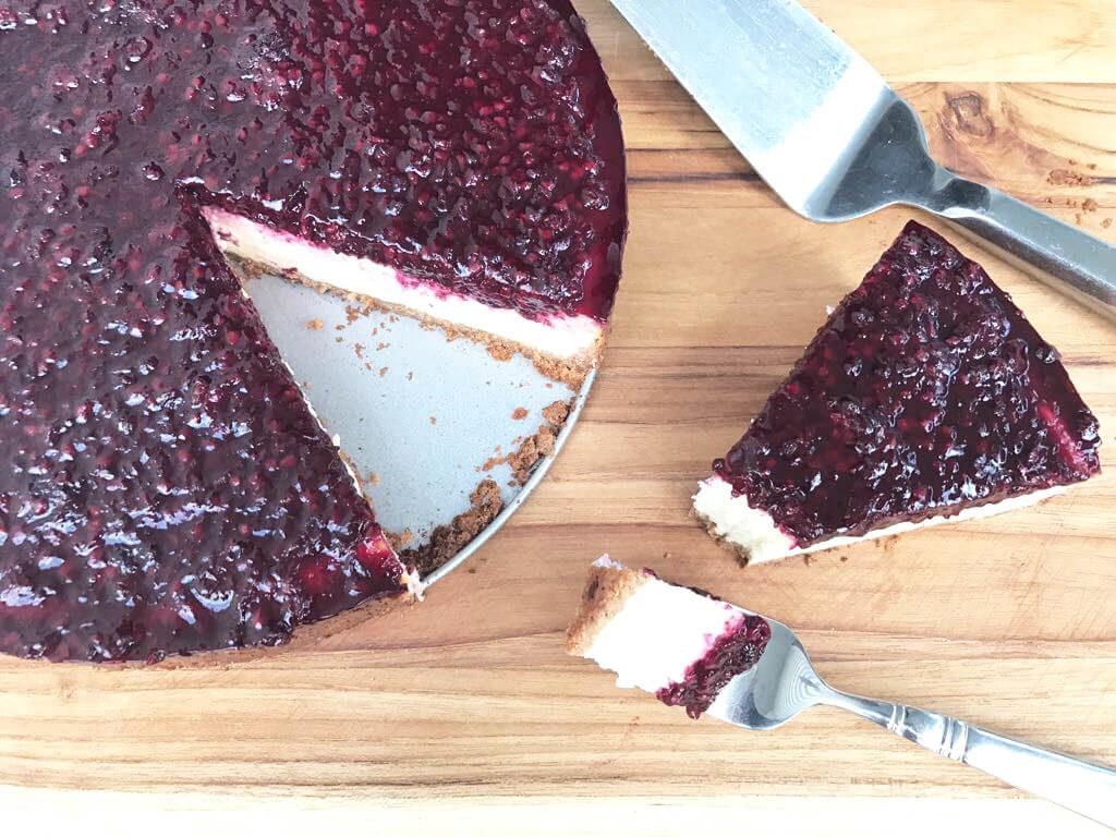 Pati Jinich blackberry cheesecake