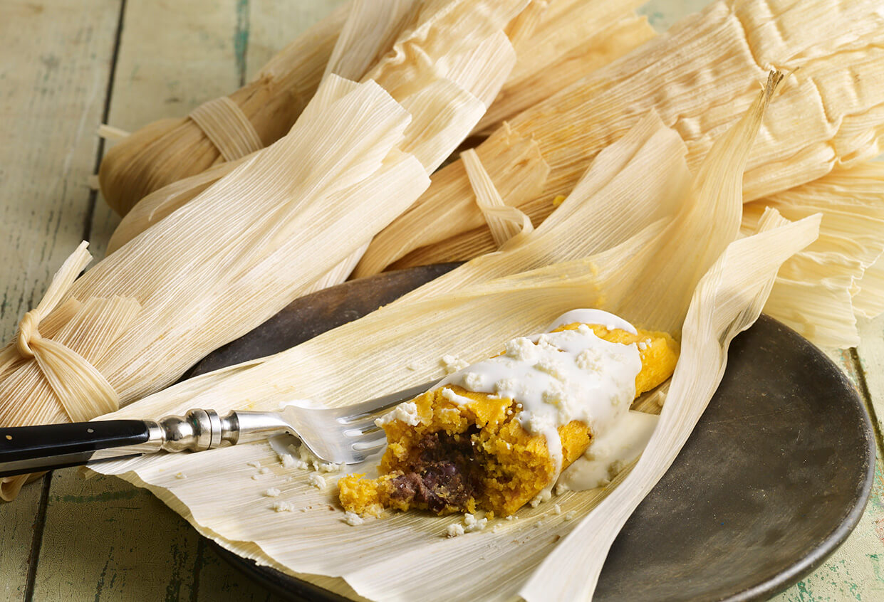 Pati Jinich sweet potato and black bean tamales