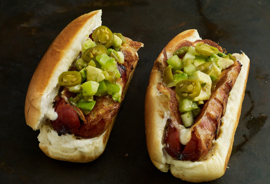 Bacon Cheese Dogs with Avocado Relish