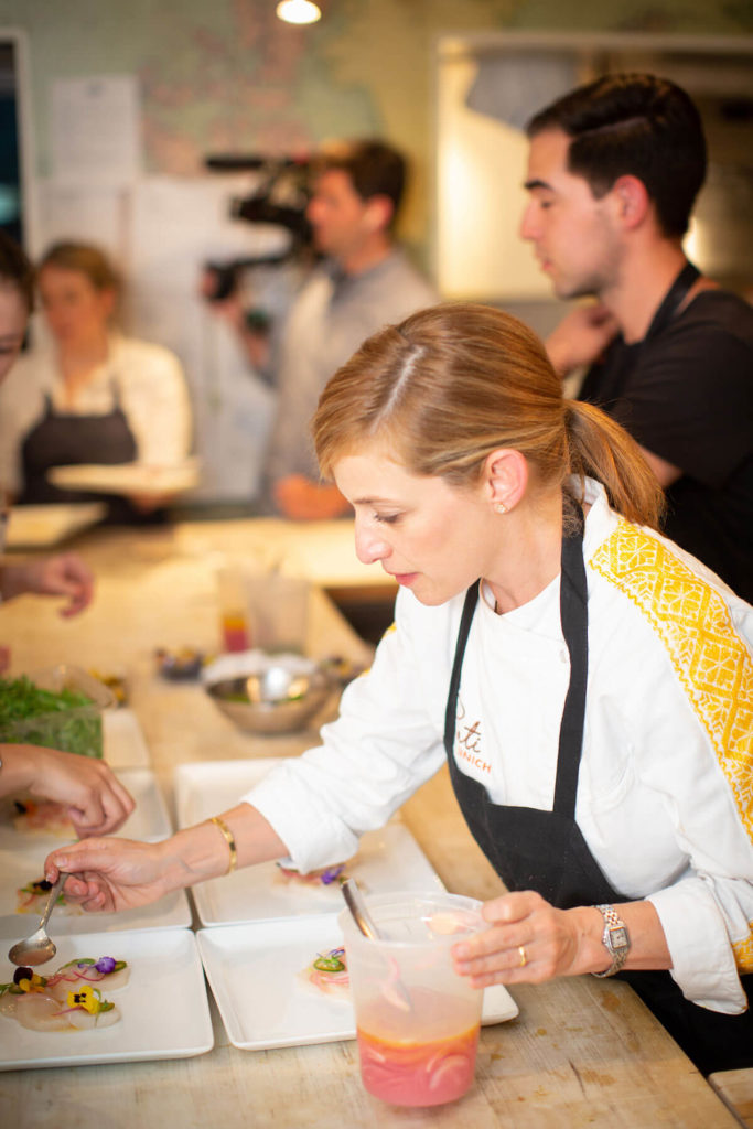 Pati Jinich plating her classic scallop aguachile at the James Beard House