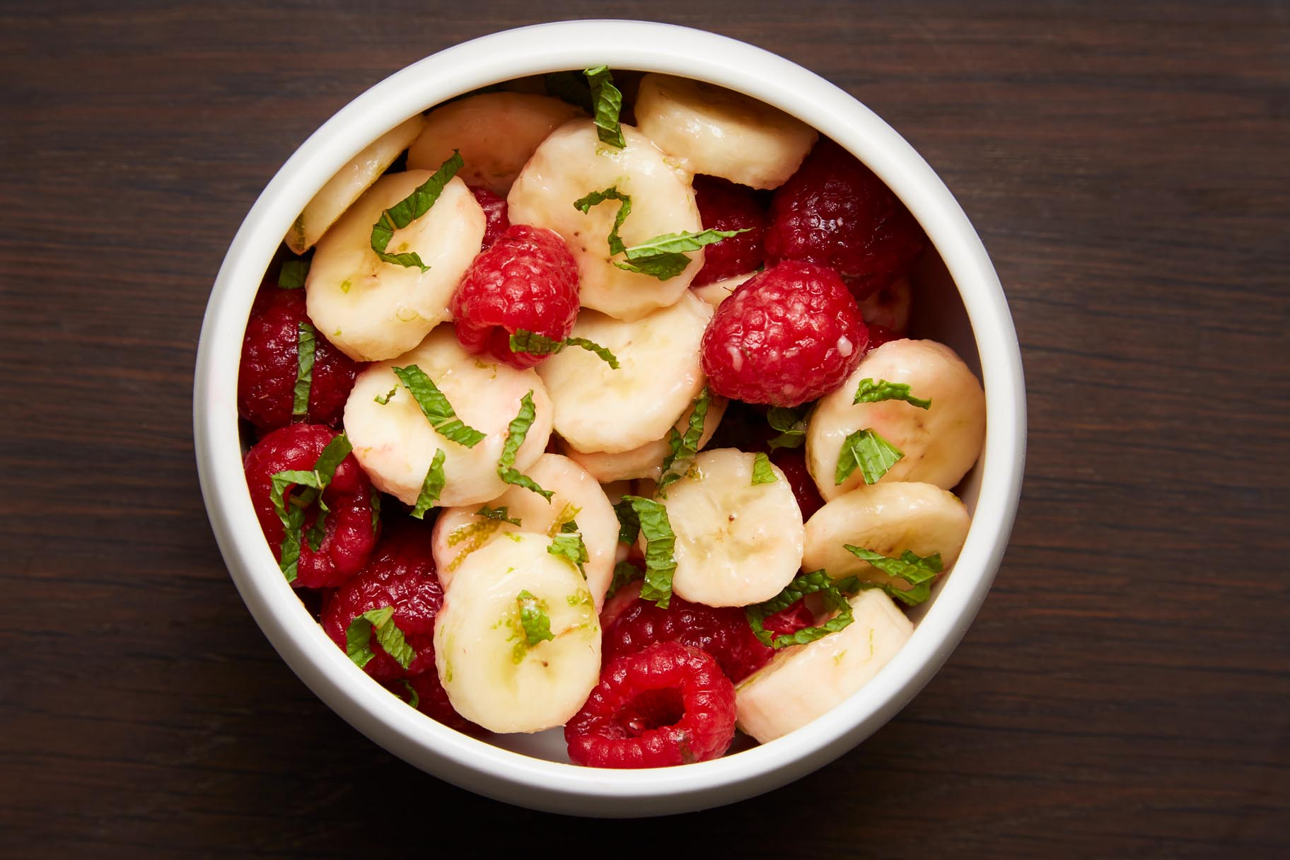 Bananas and Raspberries in Lime Syrup
