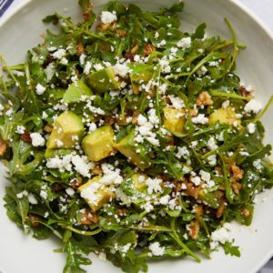 Arugula Avocado Salad with Date and Walnut Vinaigrette