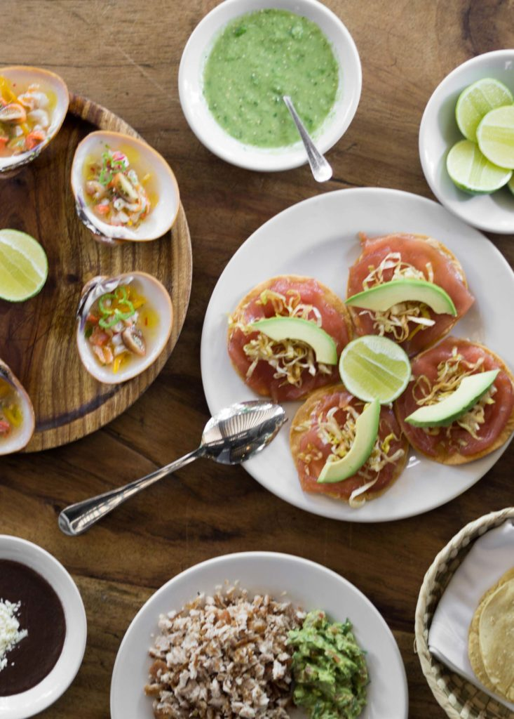 tuna ceviche, tuna tostadas, and tun carnitas at Contramar