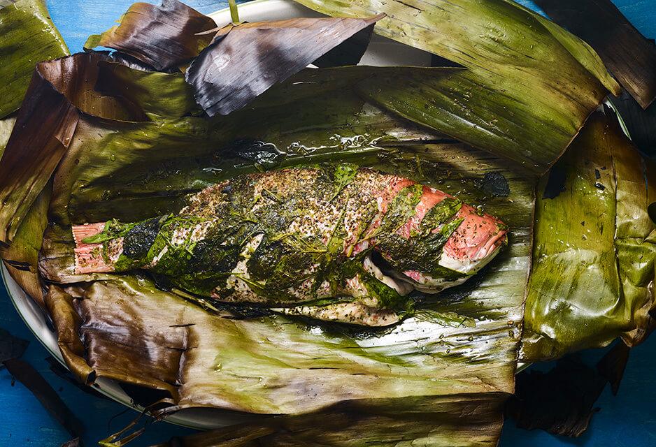 banana leaf wrapped whole fish