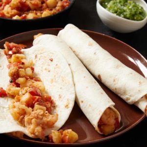Shrimp Machaca and Potato Burritos