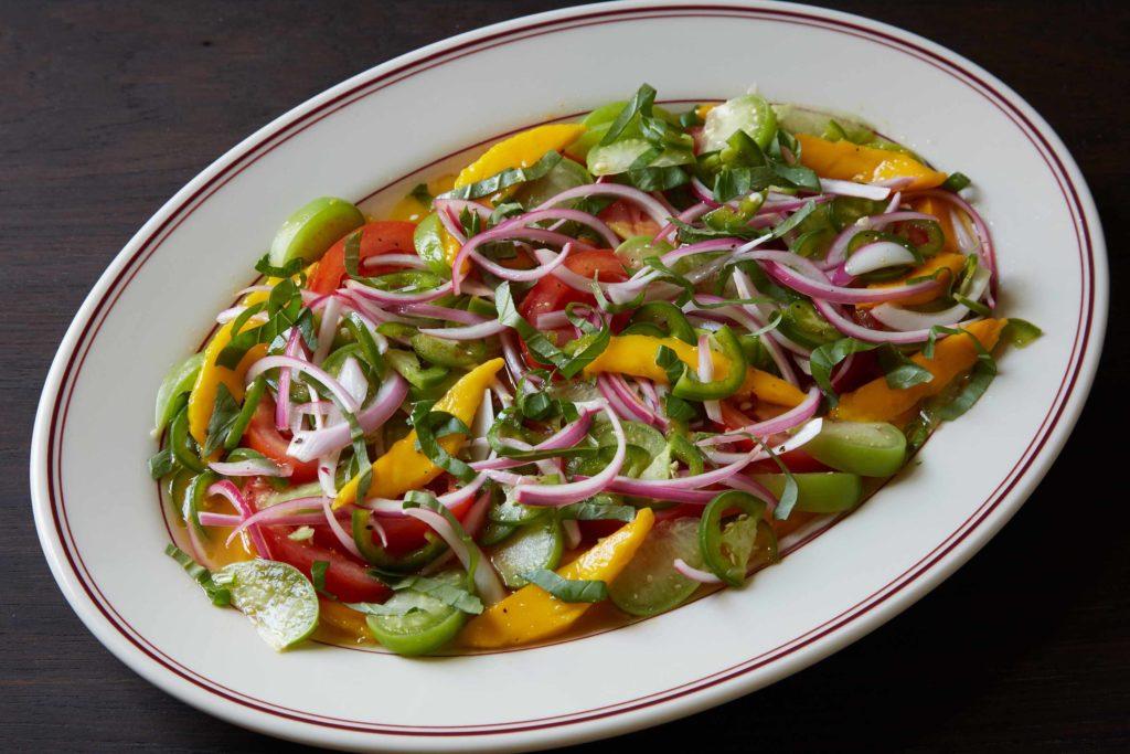 Mango, Tomato, Tomatillo, Basil and Jalapeño Salad