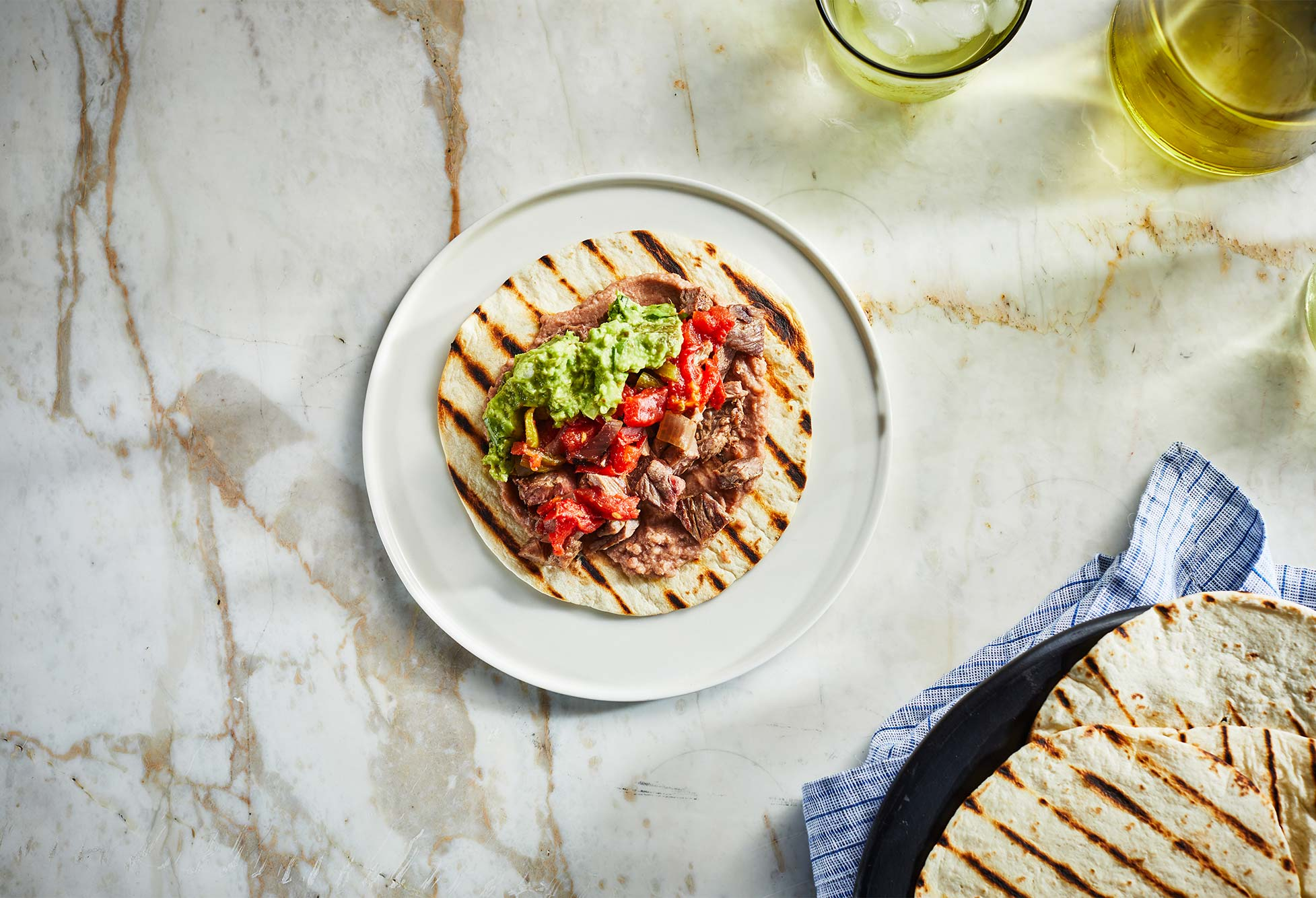 Sonora style carne asada tacos