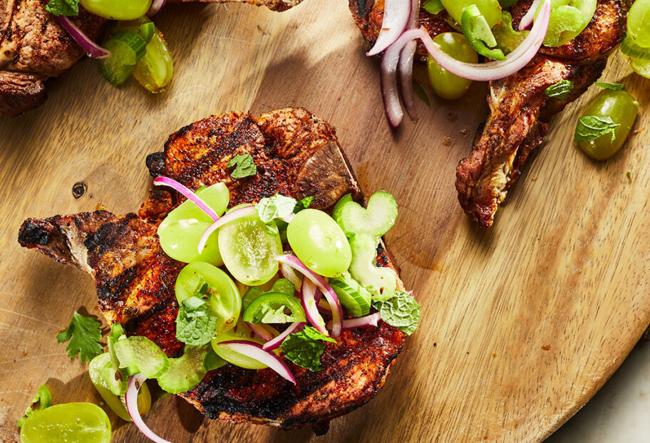 chile rubbed pork chop with grape salad
