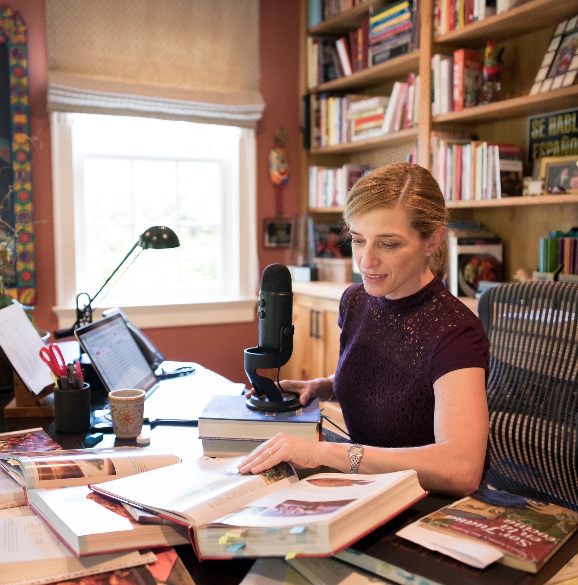 Pati at her desk