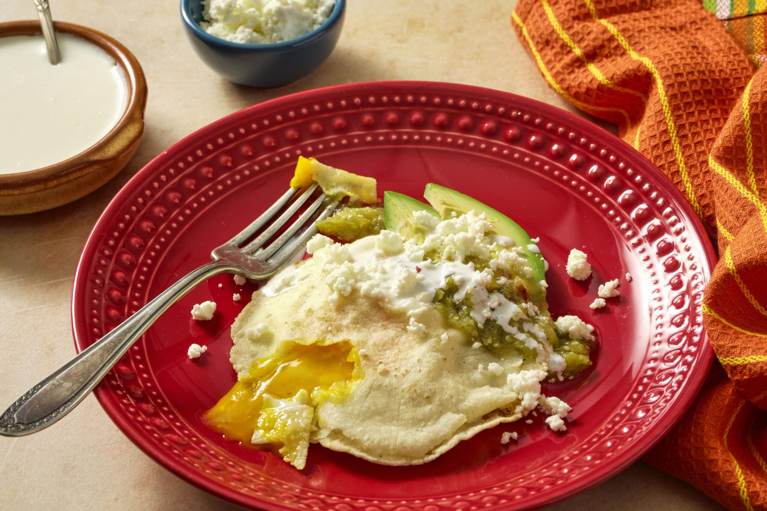 corn tortilla egg nests